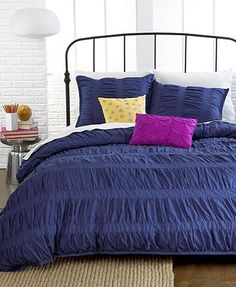Ruched Stripes Navy 3 Piece Comforter and Duvet Cover Sets
