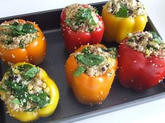 Couscous Stuffed Peppers - cook couscous in chicken broth. Then add (any amount you want....) chopped spinach (uncooked), green onions, currents, corn, Armenian feta cheese, tomato, two kinds of mushrooms, chickpeas (from a can), parsley, salt, pepper and olive oil (enough to bind). Rub the topped peppers with olive oil. Stuff and cook at 375 for 30 minutes.