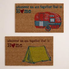 Camper and Tent Doormats available only at Cost Plus World Market stores (not available online) >> #WorldMarket Entertaining & Decor, #camping ideas, Tips, #Glamping, Outdoor #Decor