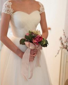 Wedding Dress Custom Wedding Dress Cap Sleeves by Promgirlsdress, $229.00