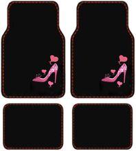 Pink Heart & High Heel Shoe car floor mat set.