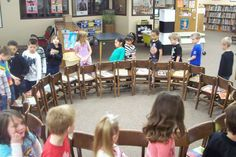 Musical chairs/books for Children's Book Week.  Must. Do. This!