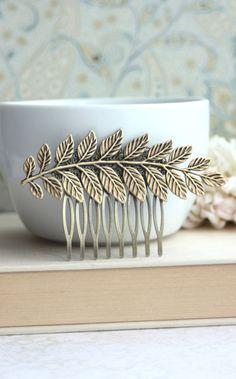 Large Leaf Brass Comb. Greek Leaf Branch Statement