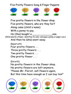 Five Pretty Flowers Song & Finger Puppets printable and lesson plan for a spring, flowers or gardening theme. flower lesson plans, flower shops, flower activities preschool, finger play, flower theme preschool, flower shop play, flower preschool theme, flower songs, finger puppets