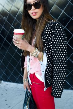 Studded jacket pops with this outfit.