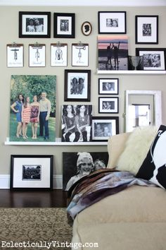 See how to make an eclectic gallery wall with picture ledges eclecticallyvintage.com