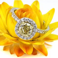 1.91ct Fancy Intense Yellow Cushion Cut Diamond Engagement Anniversary Ring