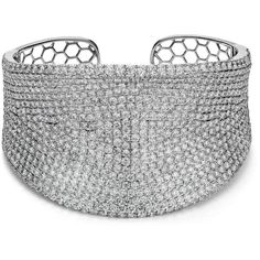 Blue Nile Curved Pavé Diamond Cuff in 18k White Gold (24.42 cttw) ($42,000) ❤ liked on Polyvore