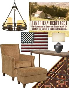 The American Heritage look is casual, warm, and comforting, reaching back in history to American roots for inspiration. The colors found are deep, rich earth tones are accented with red and blue. Distressed woods and lustrous hammered metals provide texture.