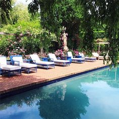 Poolside in The Hamptons.