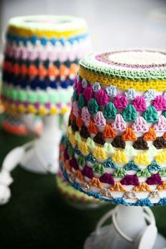 lampshade knitted, crochet cover, stripe lampshad, potted plants, lamp shade, granni stripe, stripe crochet, crochet lampshades, craft rooms