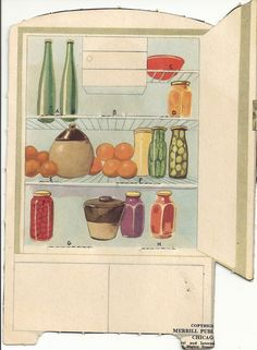 Paper Cut Outs Refrigerator and Stove Vintage Paper Doll