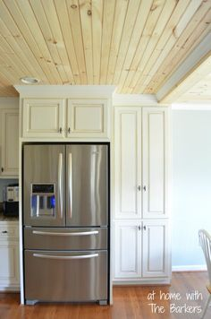 Farmhouse style kitchen with glazed cabinets.  I WANT THIS CEILING IN MY KITCHEN