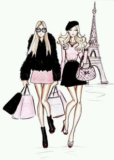 Cute eiffel tower and girls - Parisienne illustration