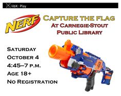 Looking for an excuse to dust off your Nerf blasters? We've got you covered! On the first Saturday of each month we take over the reference section after hours for a cutthroat game of capture the flag. Bring your own un-modded blasters. Open to anyone 18 or older. No registration necessary. Meet at the Reference Desk on the second floor.