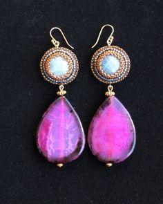 Labradorite & Pink Agate Teardrop Earrings