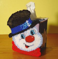 Plastic Canvas Creations | Frosty The Snowman Plastic Canvas Boutique Tissue Paper Box Cover ...