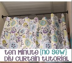 "Wow...just grab fabric, hang it on tension rod (via clips), and ""hem"" to desired length - by simply double-sided tape & ironing over the fold! Amazing!   A 10 minute no sew diy curtain tutorial 1 OMG it's so easy, screw trying to google patterns. I'm hitting the fabric shop!!!"