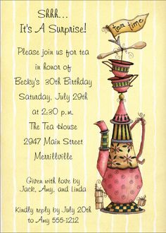 diy tea party invitation template .
