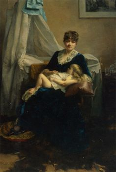 Fanny Fleury- A mother and her Sleeping Child (oil on canvas)