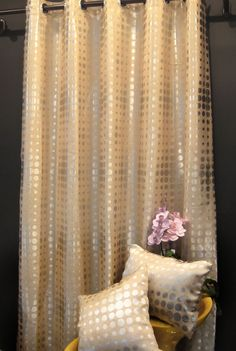 DC008-Per Meter(2.8 Meter wide)Silver Polka Dot on Light Gold Cotton Blend Fabric Specialist Material for Sofa/Cushion/Pillow/Covers/Curtain