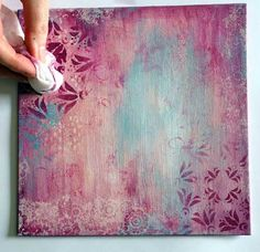 Monday Mojo painted canvas. Pretty idea for an art journal background.