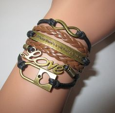 Infinity braceletBrown Lock Braceletsaying braceletLove