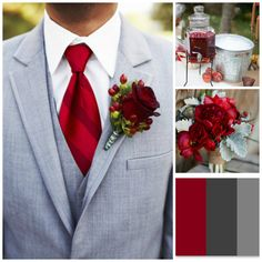 Pinning this for the cranberry tie/ flower color.  I like the gray, but maybe a khaki colored suit would work better for what I'm thinking. Groomsmen, Groom Style, Formal Wear, Grey Suits, Weddings, Ties, Boutonnieres, Cranberries, Red Wedding