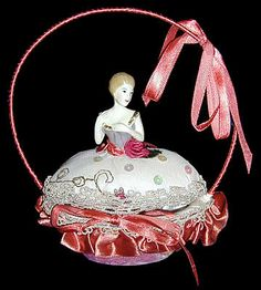 sewing baskets, doll pincushion, pin cushion, sew basket