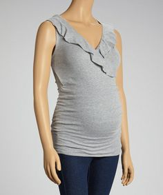 Love this Heather Grey Ruffle Violet Maternity Sleeveless Top - Women on #zulily! #zulilyfinds