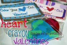 FREE printable for DIY Crayon Valentines valentine crafts, gift, crayon valentin, free printabl, heart crayon, craft ideas, preschool, kid, crayon party