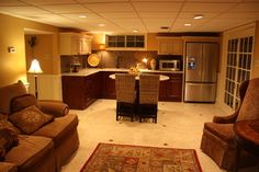 Traditional Basement Photos Colorful Kitchen Design, Pictures, Remodel, Decor and Ideas - page 9