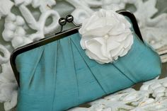 Precious Pleat Kisslock w/ BLOOM Bridal Clutch/ by ItsSoClutch, $64.00 with/without flower