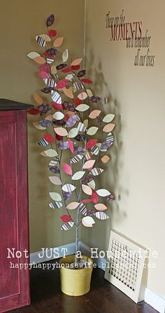 idea, craft, toilet paper rolls, paper towel rolls, toilet paper art, scrapbook paper, tree branches, paper trees, embossed cards