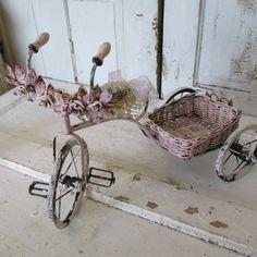 Metal bicycled hand painted cream pink ornate by AnitaSperoDesign, $260.00