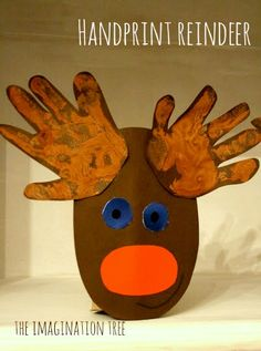 holiday, christmas cards, idea, christmas crafts, toilet paper rolls, handprint reindeer, christma craft, imagin tree, kid