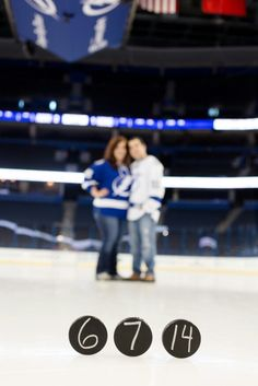 On ice hockey engagement picture. #hockey #wedding #engagement Photo by Tamara Pizzeck Photography