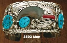 Wide Bracelet-  - Bear Claw- Turquoise And Red Coral- On Sterling Silver- Navajo Made-   Review the Tribal Impressions Bear Claw Jewelry Collection off of: http://www.indianvillagemall.com/jewelry/bearclaw.html