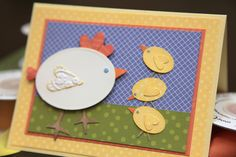 Paper Pieced Easter/Spring Card from Craft Fancy ...  mama hen and three chicks ... ovals with hear wings .... country chic ... super cute ...
