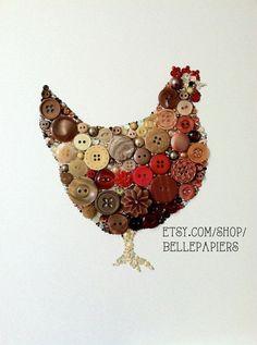 Button Art Swarovski Rhinestones Brown Hen Chicken Art