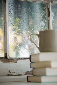 Tea + books + rain = perfect