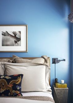 China blue walls in a bedroom designed by Samuel Masters.  Click through for more from the designer's portfolio.