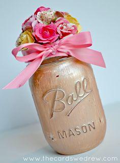 Painted Flower Mason Jar Gift Idea + Blog Hop! - The Cards We Drew