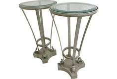 Glass-Top Iron Stands, Pair