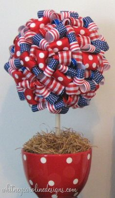 Polka Dot Treats: Ribbon Topiaries - DIY Centerpieces