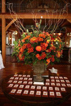 Escort Card Display & fall flowers