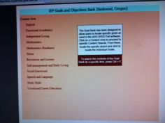This is really cool, just click on the topic, then it takes you directly to that page and gives you specific goals/objectives! http://www.bridges4kids.org/IEP/iep.goal.bank.pdf  Pinned by SOS Inc. Resources.  Follow all our boards at http://pinterest.com/sostherapy  for therapy resources.