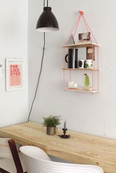 Neon hanging shelves