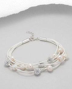 Crystal Pearl White Cotton Six Strand Bracelet Sterling Silver 925 Wedding
