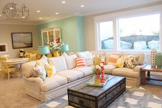Love everything about this room. Living room decor -great use of colors and pattern